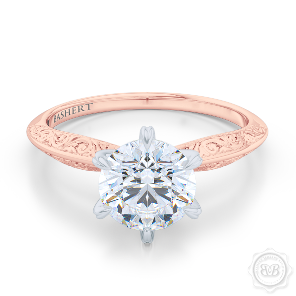 Classic knife-edge, Six-Prong Round Solitaire Engagement Ring. Crafted in Romantic Rose Gold. Elegantly hand-engraved shoulders. FOREVER ONE Round Brilliant Moissanite. Free Shipping USA. 30-Day Returns | BASHERT JEWELRY | Boca Raton, Florida