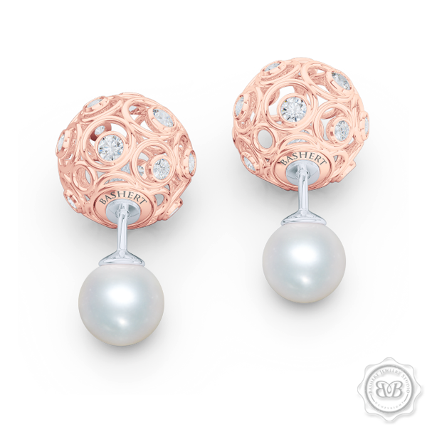 A Chic, Sophisticated Touch of Elegance. Diamond Iced Globes and White Akoya Pearl Double-Sided Tribal Earrings, Handcrafted in Romantic Rose Gold. Free Shipping on All USA Orders. 30Day Returns | BASHERT JEWELRY | Boca Raton Florida