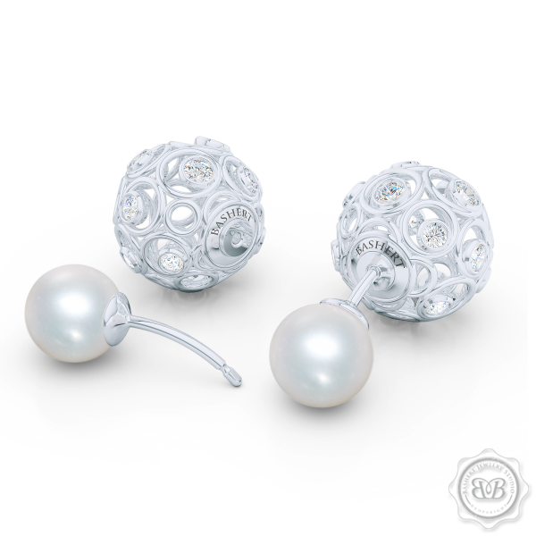 A Chic, Sophisticated Touch of Elegance. Diamond Iced Globes and White Akoya Pearl Double-Sided Tribal Earrings, Handcrafted in White Gold. Free Shipping on All USA Orders. 30Day Returns | BASHERT JEWELRY | Boca Raton Florida