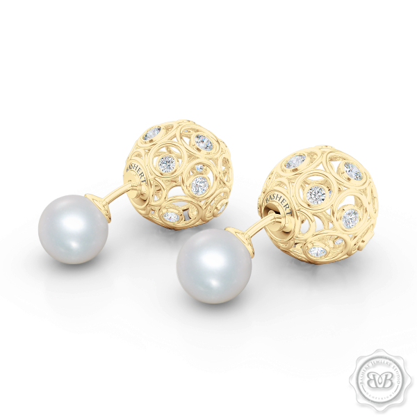 A Chic, Sophisticated Touch of Elegance. Diamond Iced Globes and White Akoya Pearl Double-Sided Tribal Earrings, Handcrafted in Classic Yellow Gold. Free Shipping on All USA Orders. 30Day Returns | BASHERT JEWELRY | Boca Raton Florida