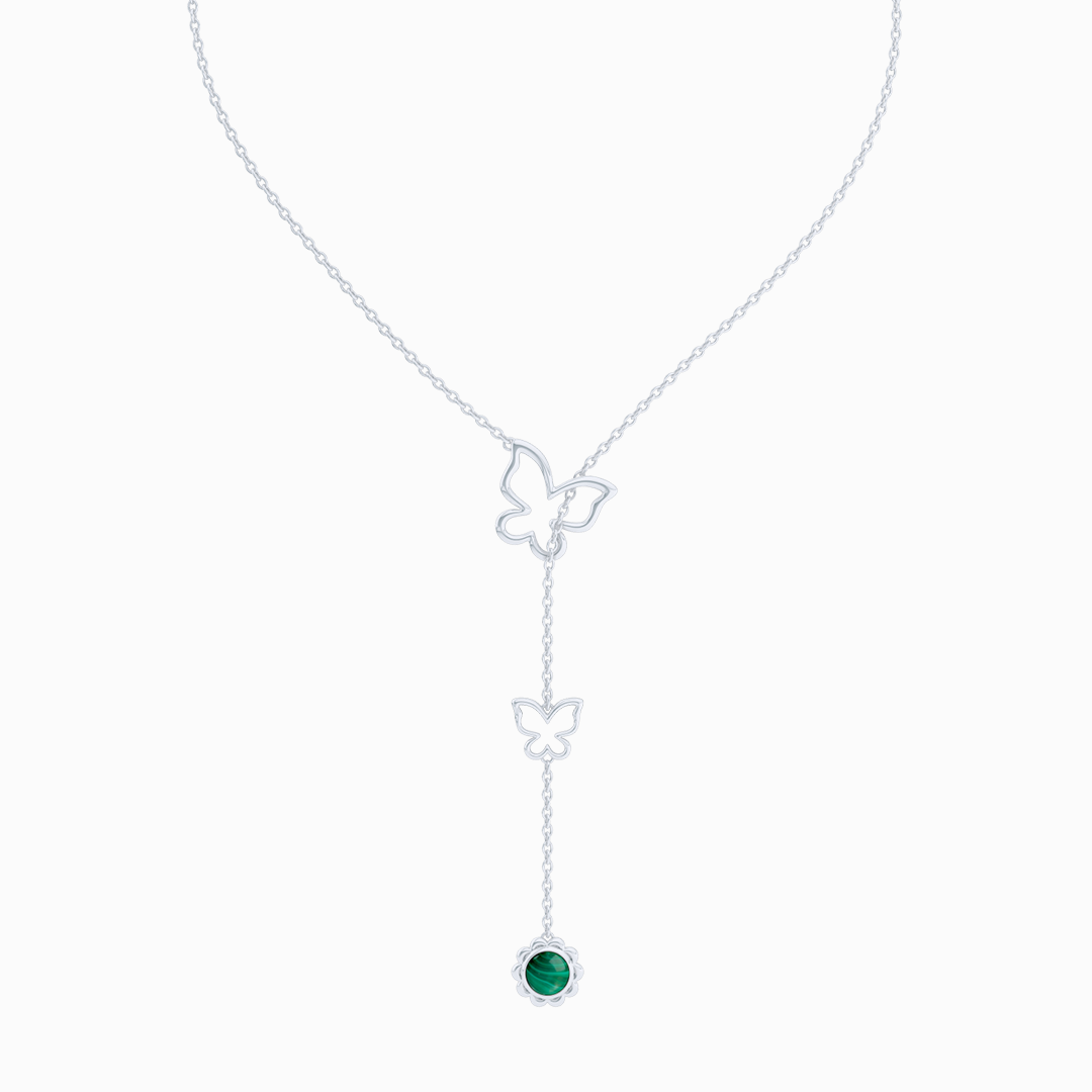 Sterling Silver Lariat Necklace. Pull-through Butterfly Accent. Silver Flower Drop adorned with a genuine Malachite or gemstone of your choice.  Free Shipping to all USA. 15 Day Returns. BASHERT JEWELRY | Boca Raton, Florida