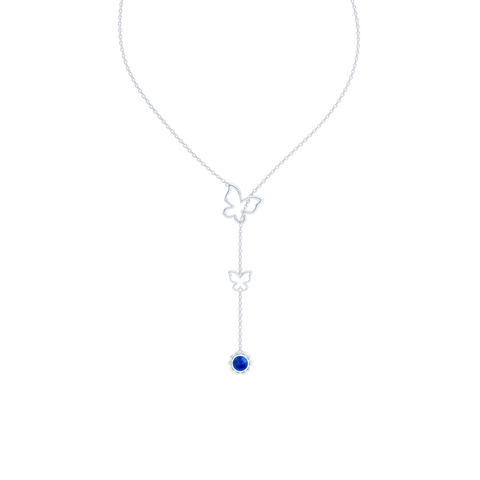 Sterling Silver Lariat Necklace. Pull-through Butterfly Accent. Silver Flower Drop adorned with a genuine Lapis Lazuli or gemstone of your choice.  Free Shipping to all USA. 15 Day Returns. BASHERT JEWELRY | Boca Raton, Florida