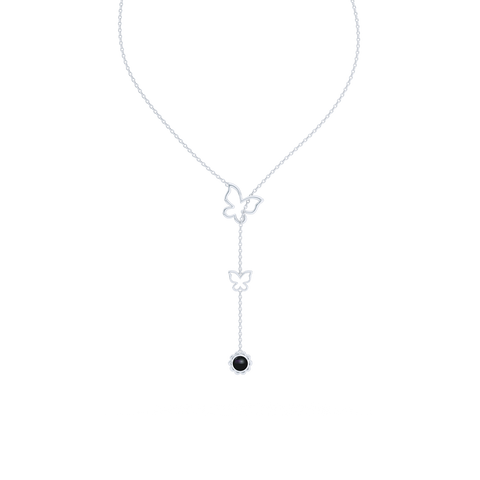 Sterling Silver Lariat Necklace. Pull-through Butterfly Accent. Silver Flower Drop adorned with a genuine Onyx or gemstone of your choice.  Free Shipping to all USA. 15 Day Returns. BASHERT JEWELRY | Boca Raton, Florida