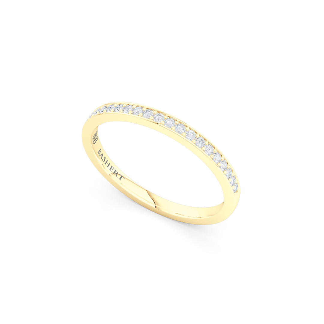 Classic, bead-set diamond wedding ring. Hand-fabricated in Classic Yellow Gold and round brilliant diamonds. Free Shipping for All USA Orders. BASHERT JEWELRY | Boca Raton, Florida
