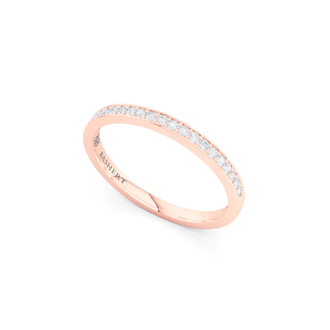Classic, bead-set diamond wedding ring. Hand-fabricated in Romantic Rose Gold and round brilliant diamonds. Free Shipping for All USA Orders. BASHERT JEWELRY | Boca Raton, Florida