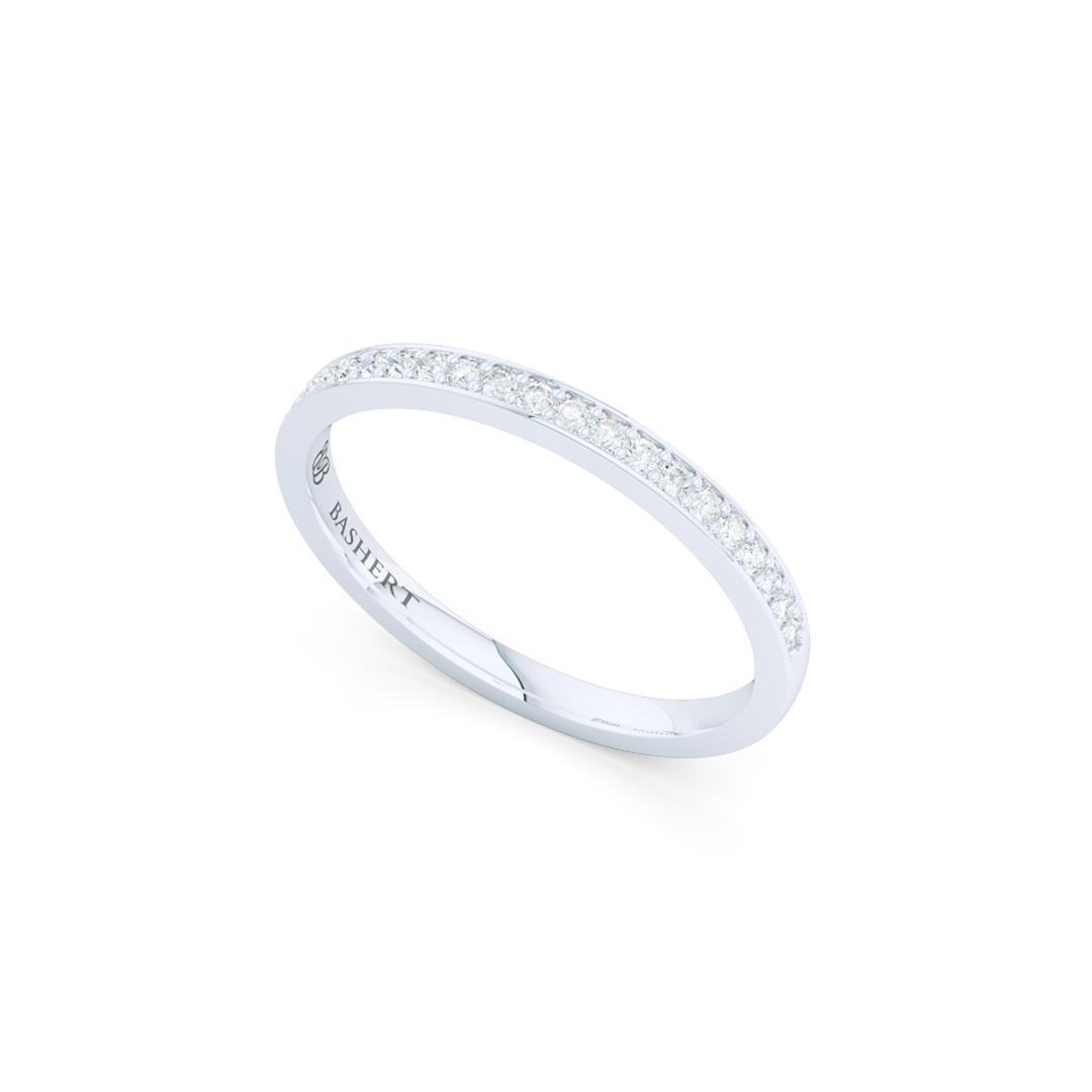 Classic, bead-set diamond wedding ring. Hand-fabricated in White Gold or Precious Platinum and round brilliant diamonds. Free Shipping for All USA Orders. BASHERT JEWELRY | Boca Raton, Florida