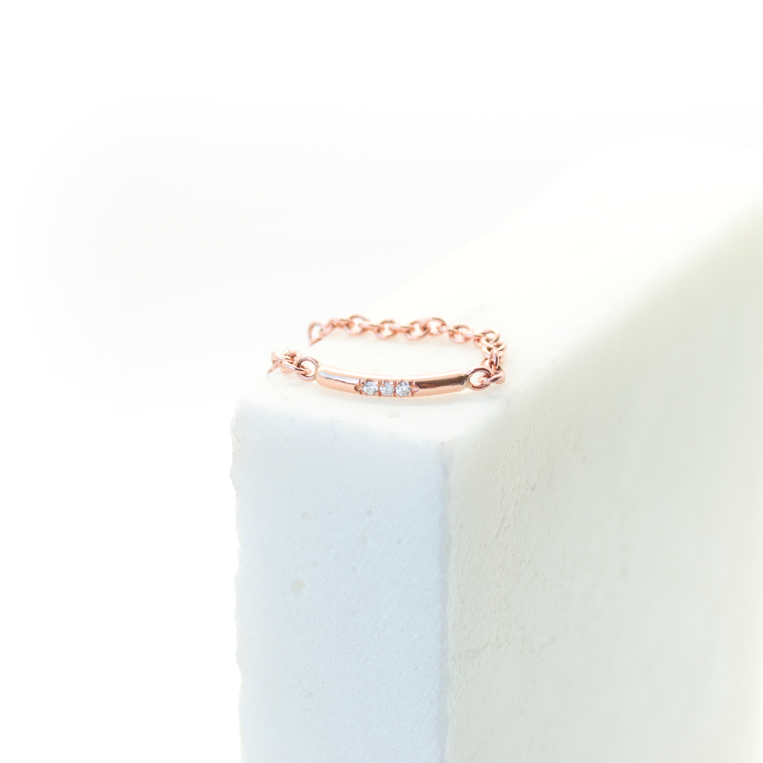 Delicate Diamond Bar Ring. Chain ring, stackable ring. Hand-fabricated in ethically sourced, solid Rose Gold. | Free Shipping on all orders in The USA. |  Bashert Jewelry.  Boca Raton Florida.
