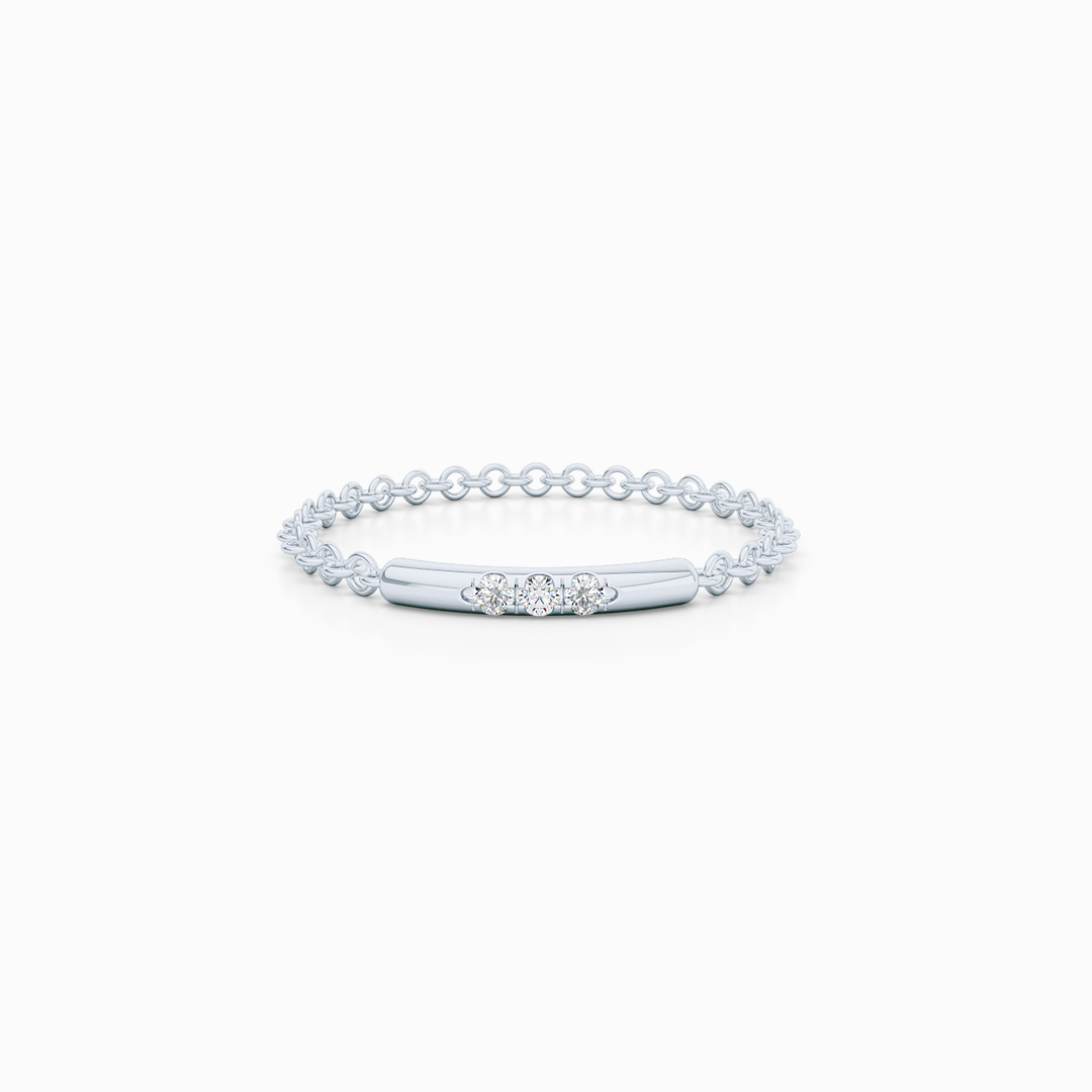 Delicate Diamond Bar Ring. Chain ring, stackable ring. Hand-fabricated in ethically sourced, solid White Gold. | Free Shipping on all orders in The USA. |  Bashert Jewelry.  Boca Raton Florida.