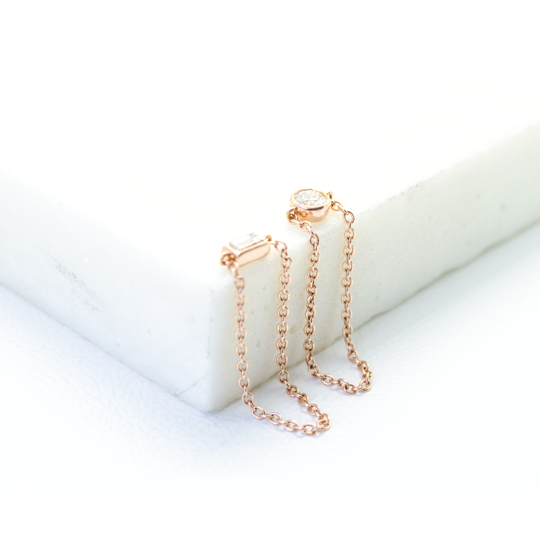 Chain pinkie, stackable ring. Hand-fabricated in ethically sourced, solid Rose Gold. | Free Shipping on all orders in The USA. |  Bashert Jewelry.  Boca Raton Florida.