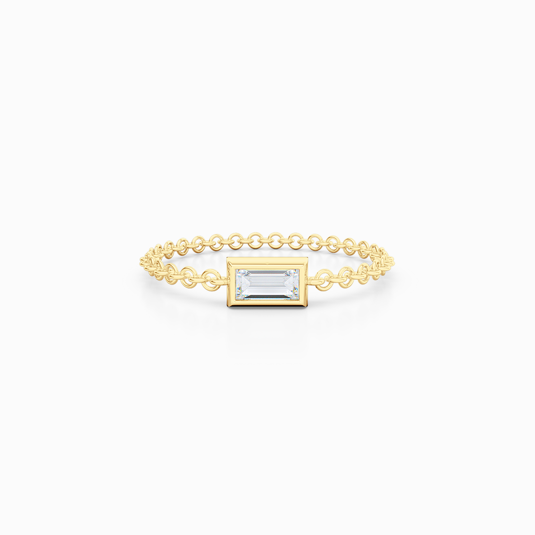 Chain pinkie, stackable ring. Hand-fabricated in ethically sourced, solid Yellow  Gold. | Free Shipping on all orders in The USA. |  Bashert Jewelry.  Boca Raton Florida.