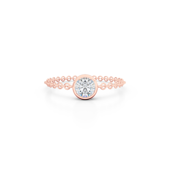 Fashion, stackable ring, featuring bezel set round diamond, suspended on a filigree chain. Hand-fabricated in ethically sourced, solid Rose Gold. | Free Shipping on all orders in The USA. |  Bashert Jewelry.  Boca Raton Florida.