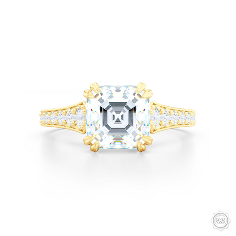 Classic Asscher Cut Diamond Solitaire Engagement Ring with vintage inspired lines. Handcrafted in Classic Yellow Gold. Bead-Set Diamond Shoulders. GIA Certified Step-Cut Asscher Diamond. Free Shipping USA. 30-Day Returns | BASHERT JEWELRY | Boca Raton, Florida.