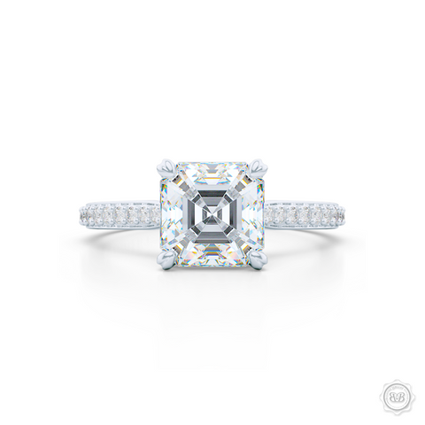 Classic Four-Prong Asscher Cut Diamond Solitaire Ring. Handcrafted in White Gold or Platinum. Elegantly Tapered Bead-Set Diamond Shoulders.  GIA Certified Asscher cut Diamond.  Free Shipping USA. 30-Day Returns | BASHERT JEWELRY | Boca Raton, Florida.
