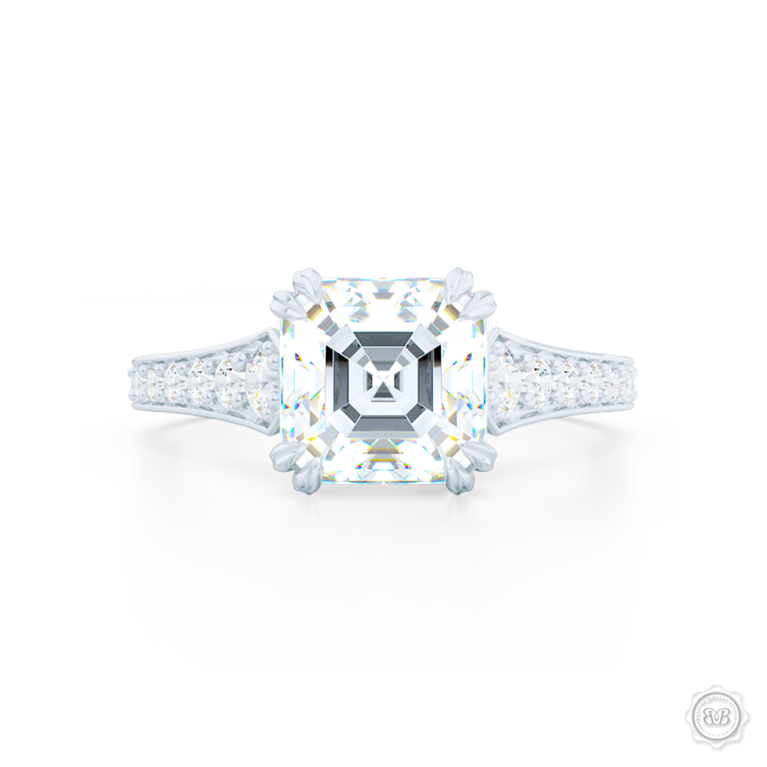 Sophisticated Asscher Solitaire Ring Bashert Jewelry Bashert Jewelry