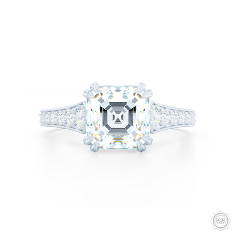 Classic Asscher Cut Diamond Solitaire Engagement Ring with vintage inspired lines. Handcrafted in Precious Platinum or White Gold. Bead-Set Diamond Shoulders. GIA Certified Step-Cut Asscher Diamond. Free Shipping USA. 30-Day Returns | BASHERT JEWELRY | Boca Raton, Florida.