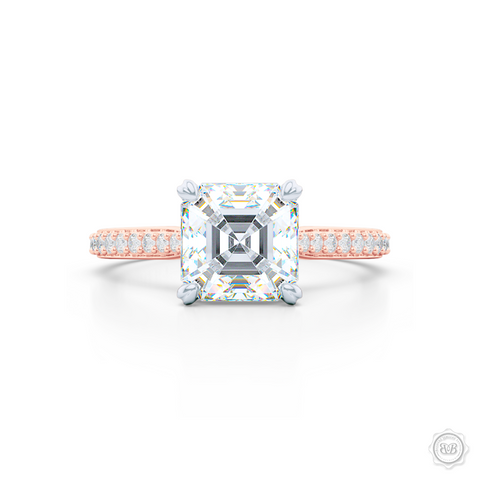 Two-tone gold, classic Four-Prong Asscher Cut Diamond Solitaire Engagement Ring. Handcrafted in Rose Gold and Platinum crown. Elegantly Tapered Bead-Set Diamond Shoulders.  GIA Certified Asscher cut Diamond.  Free Shipping USA. 30-Day Returns | BASHERT JEWELRY | Boca Raton, Florida.