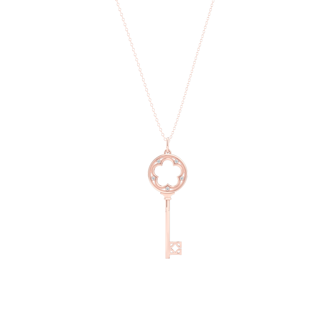 A classic Clover Key Pendant with an elegant appeal. Hand-fabricated in sustainable, solid Rose Gold. Adorned with 0.05ct Round Brilliant Diamond Set in Soft Bezel Pots. Free Shipping for All USA Orders. 15 Day Returns | BASHERT JEWELRY | Boca Raton, Florida
