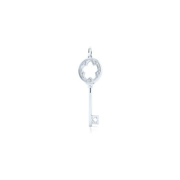 Classic Clover Key Pendant. Elegant Design Crafted in Sustainable, solid Sterling Silver. Encrusted with Round Brilliant Diamonds. Free Shipping on all US orders. 15 Days Returns. | BASHERT JEWELRY | Boca Raton, Florida