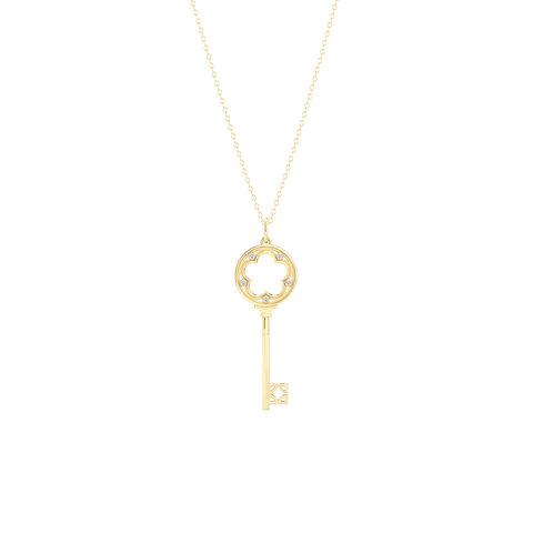 A classic Clover Key Pendant with an elegant appeal. Hand-fabricated in sustainable, solid Yellow Gold. Adorned with 0.05ct Round Brilliant Diamond Set in Soft Bezel Pots. Free Shipping for All USA Orders. 15 Day Returns | BASHERT JEWELRY | Boca Raton, Florida
