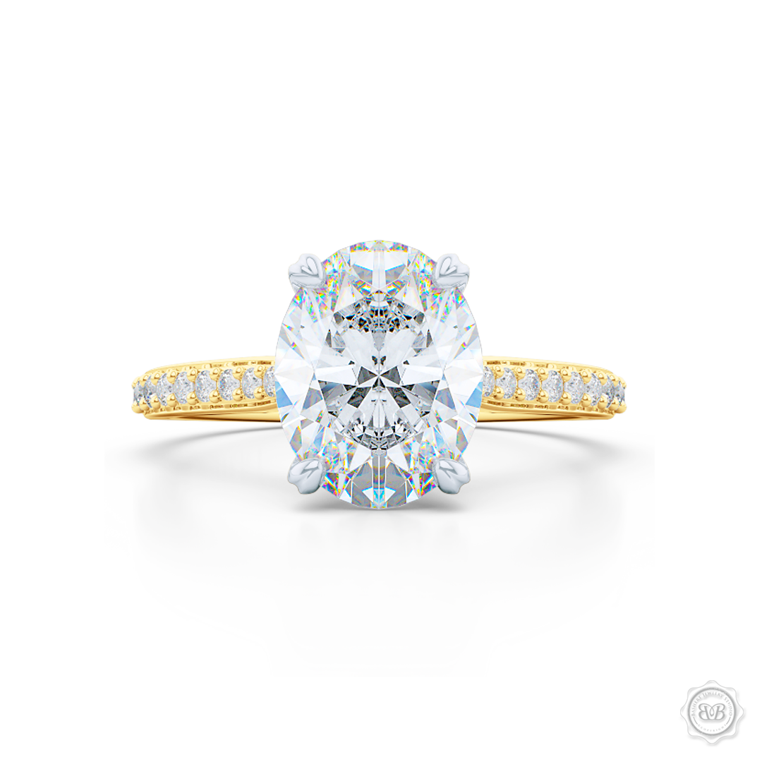 Classic Diamond Solitaire Ring Handcrafted in two-tone Yellow Gold and Precious Platinum crown. Elegant Bead-Set Diamond Shoulders. GIA certified Oval Diamond. Free Shipping USA. 30-Day Returns | BASHERT JEWELRY | Boca Raton, Florida