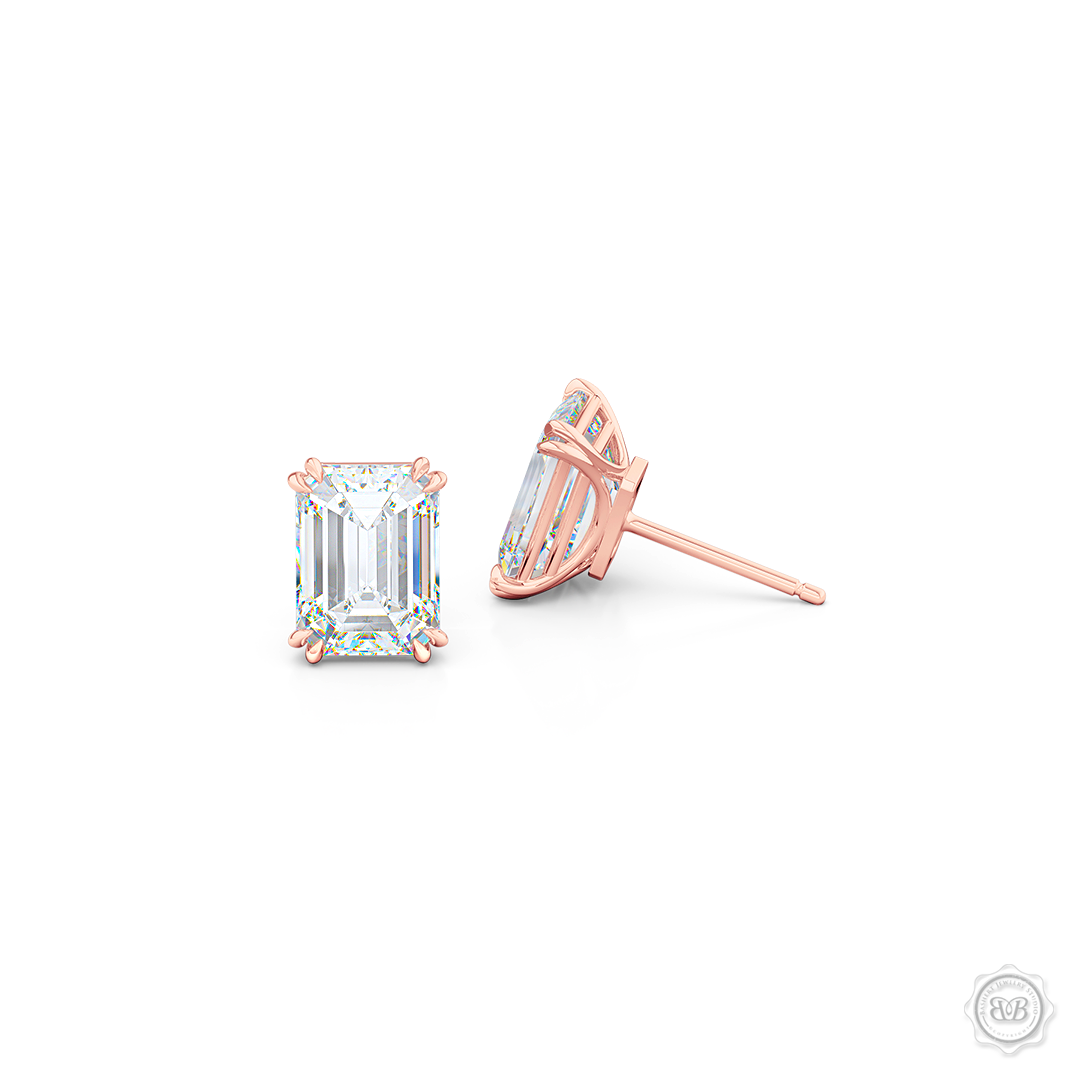 Classic Emerald cut Diamond Stud Earrings. Handcrafted in Romantic Rose Gold. Find The Perfect Pair for Your Budget. Moissanite and Lab-Grown Diamonds options available! Free Shipping on All USA Orders. 30-Day Returns | BASHERT JEWELRY | Boca Raton, Florida.