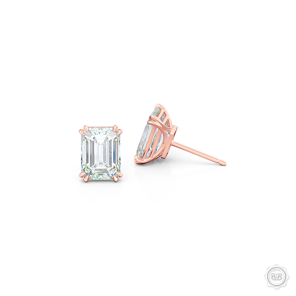 Classic Emerald cut Moissanite Stud Earrings. Handcrafted in Romantic Rose Gold. Find The Perfect Pair for Your Budget.  Lab-Grown Diamonds options available! Free Shipping on All USA Orders. 30-Day Returns | BASHERT JEWELRY | Boca Raton, Florida.