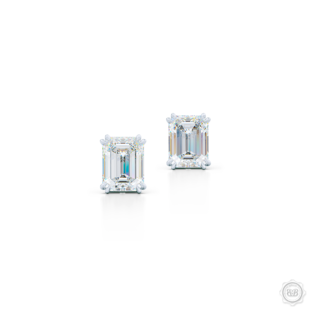 Classic Emerald cut Moissanite Stud Earrings. Handcrafted in White Gold. Find The Perfect Pair for Your Budget.  Lab-Grown Diamonds options available! Free Shipping on All USA Orders. 30-Day Returns | BASHERT JEWELRY | Boca Raton, Florida.