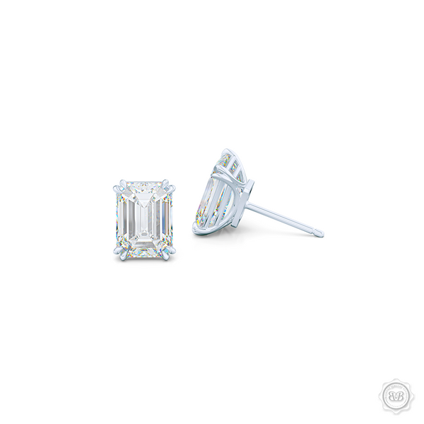 Classic Emerald cut Diamond Stud Earrings. Handcrafted in White Gold. Find The Perfect Pair for Your Budget. Moissanite and Lab-Grown Diamonds options available! Free Shipping on All USA Orders. 30-Day Returns | BASHERT JEWELRY | Boca Raton, Florida.