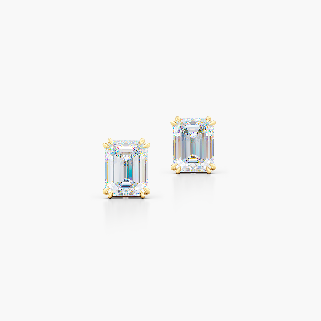 Classic Emerald cut Moissanite Stud Earrings. Handcrafted in Classic Yellow Gold. Find The Perfect Pair for Your Budget.  Lab-Grown Diamonds options available! Free Shipping on All USA Orders. 30-Day Returns | BASHERT JEWELRY | Boca Raton, Florida.