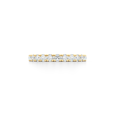 Classic French fishtail-set Diamond Eternity Wedding Ring. Hand-fabricated in Classic Yellow Gold and round brilliant diamonds. Free Shipping for All USA Orders.  BASHERT JEWELRY | Boca Raton, Florida