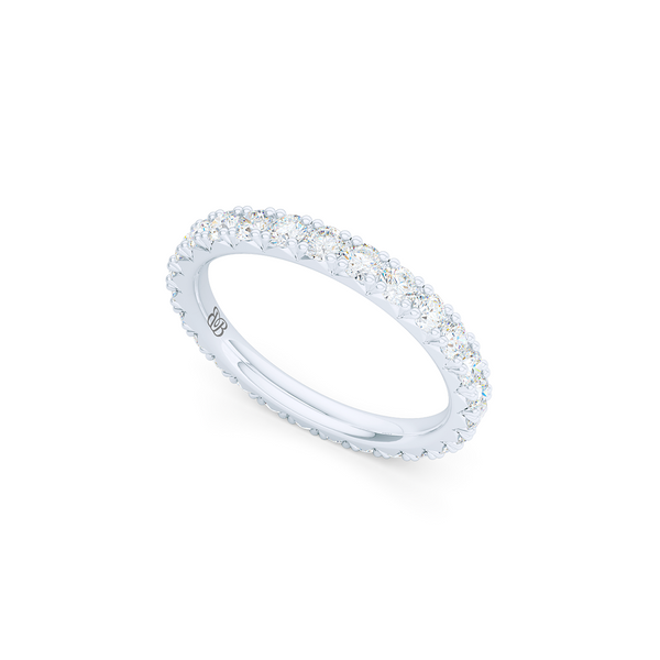 Classic French fishtail-set Diamond Eternity Wedding Ring. Hand-fabricated in White Gold or Precious Platinum and round brilliant diamonds. Free Shipping for All USA Orders.  BASHERT JEWELRY | Boca Raton, Florida