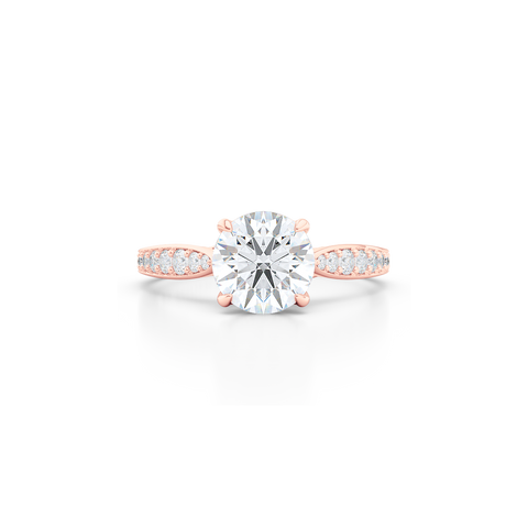 Award-Winning, Round Solitaire Engagement Ring. Hand-fabricated in solid, sustainable Rose Gold. Signature Heart Crown showcasing a Charles & Colvard, Forever One Round Brilliant Moissanite. Diamond Shoulders. Free Shipping USA. 15 Day Returns | BASHERT JEWELRY | Boca Raton, Florida