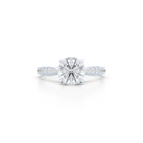 Award-Winning Round Solitaire Engagement Ring. Hand-fabricated in solid, sustainable White Gold. Signature Heart Crown showcasing a handpicked, GIA certified Round Brilliant Diamond. Diamond Shoulders. Free Shipping USA. 15 Day Returns | BASHERT JEWELRY | Boca Raton, Florida