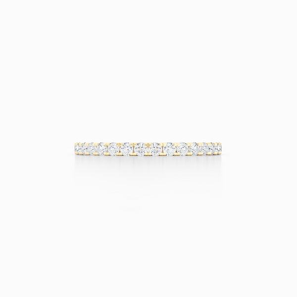 Classic, whisper thin, French pavé, Diamond Eternity Wedding Band. Hand-fabricated in Classic Yellow Gold and Round Diamonds. Free Shipping All USA Orders. 15-Day Returns | BASHERT JEWELRY | Boca Raton, Florida
