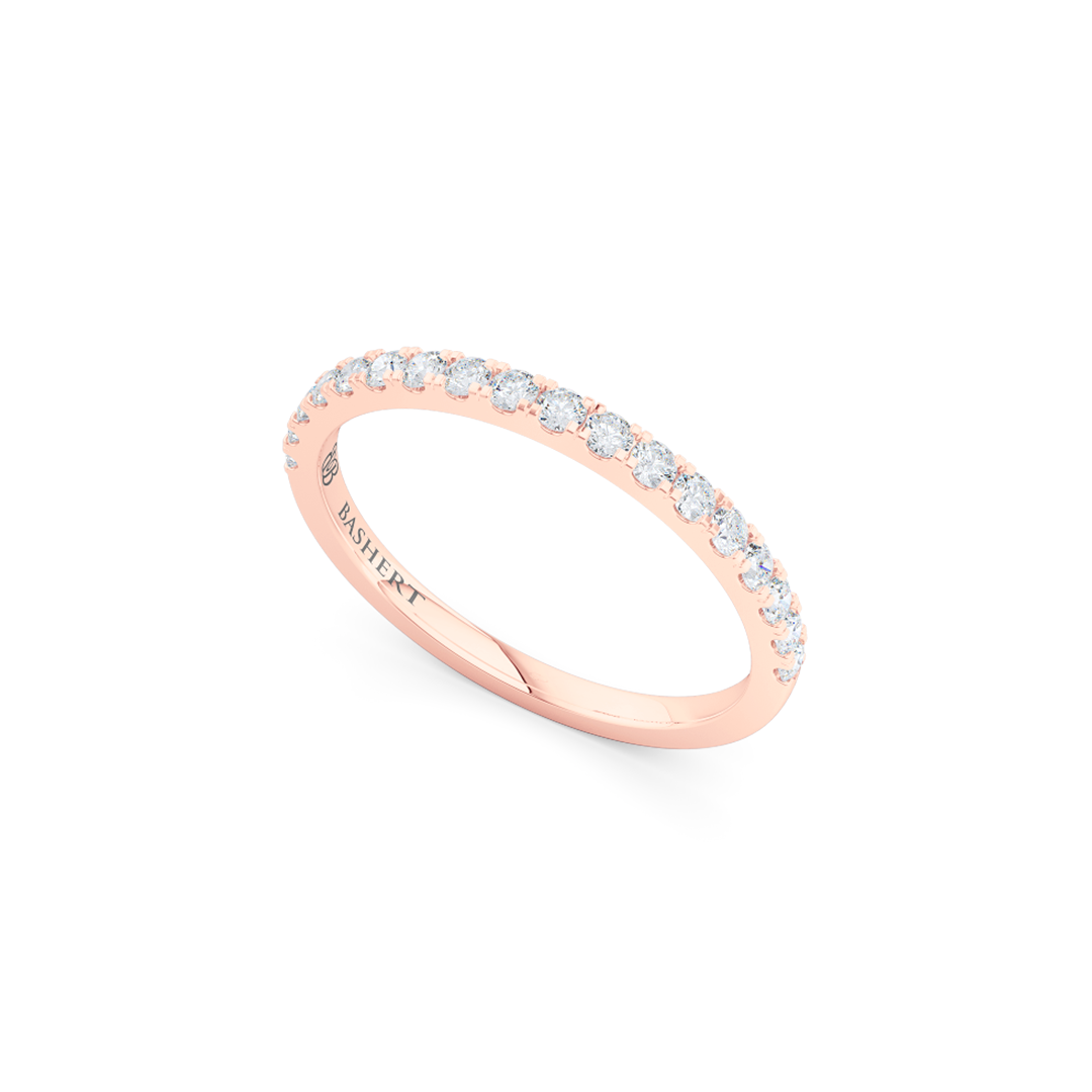 Classic, whisper thin, French pavé, Diamond Wedding Band. Hand-fabricated in Romantic Rose Gold and Round Diamonds. Free Shipping All USA Orders. 15-Day Returns | BASHERT JEWELRY | Boca Raton, Florida