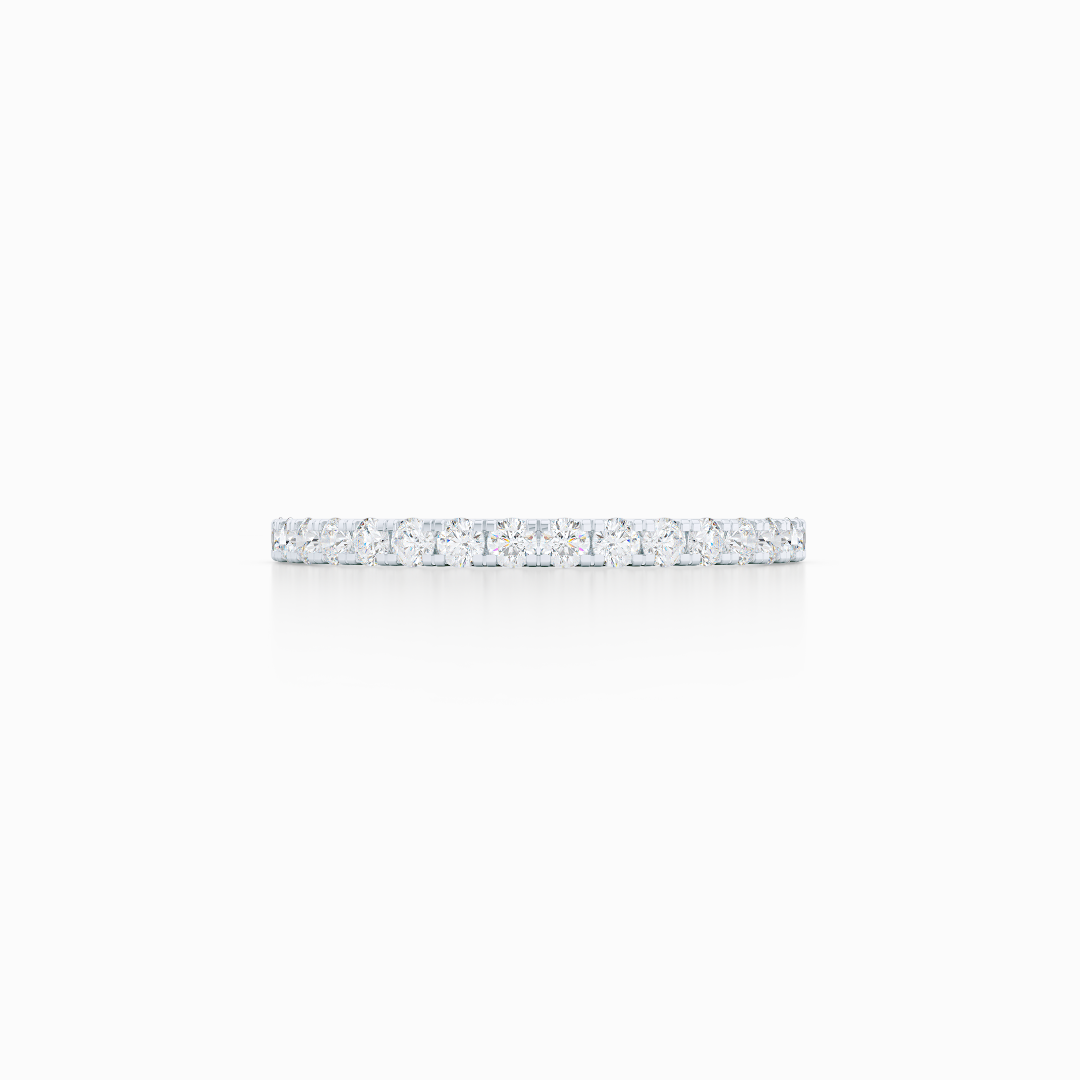 Classic, whisper thin, French pavé, Eternity Diamond Wedding Band. Hand-fabricated in White Gold, or Precious Platinum, and Round Diamonds. Free Shipping All USA Orders. 15-Day Returns | BASHERT JEWELRY | Boca Raton, Florida