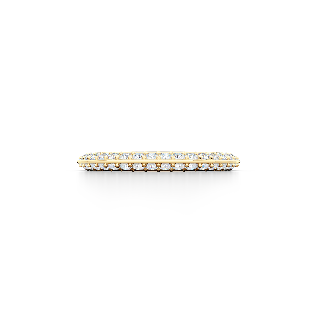 Knife-Edge, diamond encrusted wedding ring. Elegant bevel sides with a bead-set brilliant  diamond melees, hand-fabricated in Classic Yellow Gold. Free Shipping for All USA Orders. | BASHERT JEWELRY | Boca Raton, Florida.