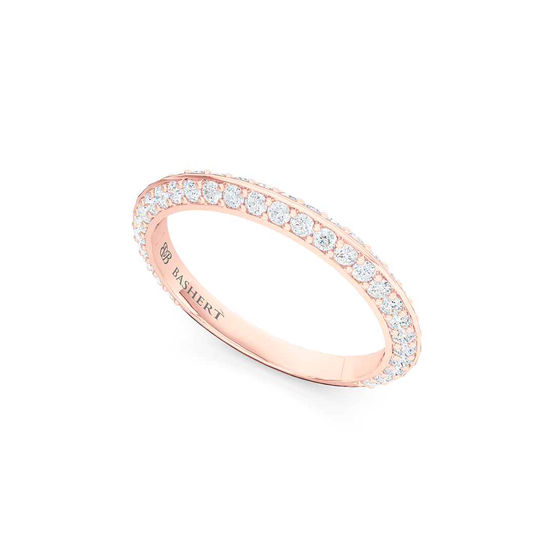 Knife-Edge, diamond encrusted wedding ring. Elegant bevel sides with a bead-set brilliant  diamond melees, hand-fabricated in Romantic Rose Gold. Free Shipping for All USA Orders. | BASHERT JEWELRY | Boca Raton, Florida.