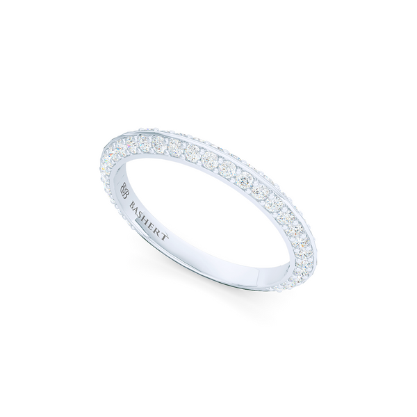 Knife-Edge, diamond encrusted wedding ring. Elegant bevel sides with a bead-set diamond melees. Hand-fabricated in Precious Platinum or White Gold. Free Shipping for All USA Orders. | BASHERT JEWELRY | Boca Raton, Florida.