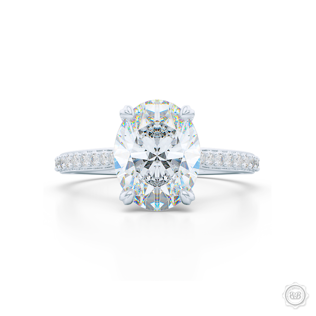 Classic Diamond Solitaire Ring Handcrafted in White Gold or Platinum. Elegant Bead-Set Diamond Shoulders. GIA certified Oval Diamond. Free Shipping USA. 30-Day Returns | BASHERT JEWELRY | Boca Raton, Florida