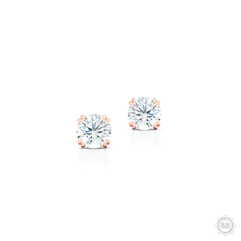 Classic Round Brilliant cut Moissanite Stud Earrings. Handcrafted in Romantic Rose Gold. Find The Perfect Pair for Your Budget.  Lab-Grown Diamonds options available! Free Shipping on All USA Orders. 30-Day Returns | BASHERT JEWELRY | Boca Raton, Florida.
