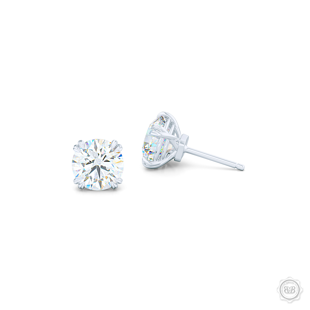 Classic Round Brilliant cut Moissanite Stud Earrings. Handcrafted in White Gold. Find The Perfect Pair for Your Budget.  Lab-Grown Diamonds options available! Free Shipping on All USA Orders. 30-Day Returns | BASHERT JEWELRY | Boca Raton, Florida.
