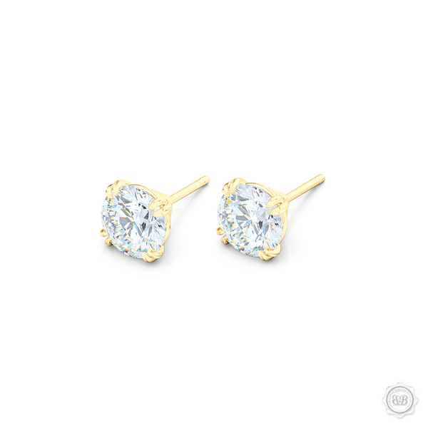 Classic Round Brilliant cut Moissanite Stud Earrings. Handcrafted in Classic Yellow Gold. Find The Perfect Pair for Your Budget.  Lab-Grown Diamonds options available! Free Shipping on All USA Orders. 30-Day Returns | BASHERT JEWELRY | Boca Raton, Florida.