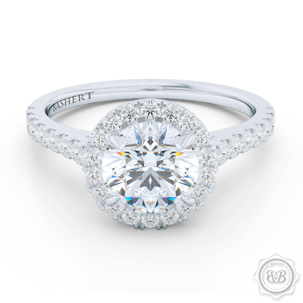 Classic Round Halo Engagement Ring in Platinum, White Gold, GIA Certified Diamond. Create Your Custom Engagement Ring Online
