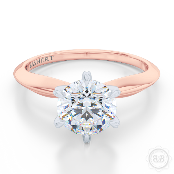 Classic Six-Prong Diamond Solitaire Ring Crafted in two-tone Romantic Rose Gold and Precious Platinum crown. GIA certified Round Brilliant Diamond. Classic knife-edge ring shoulders.  Free Shipping USA. 30-Day Returns | BASHERT JEWELRY | Boca Raton, Florida