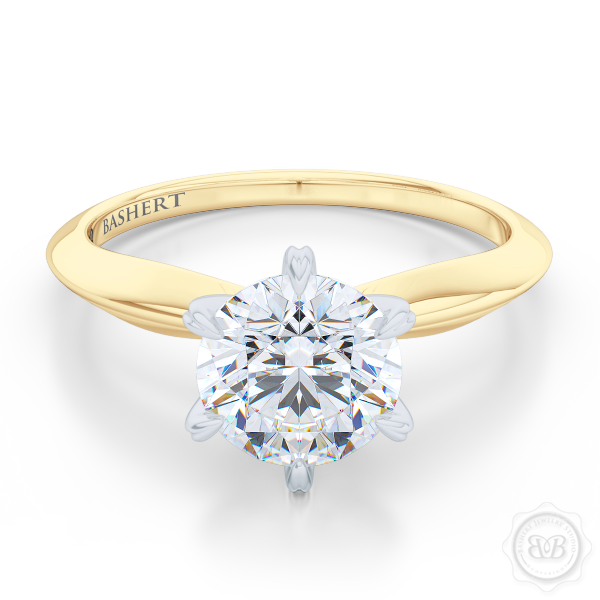 Classic Six-Prong Diamond Solitaire Ring Crafted in two-tone Classic Yellow Gold and Precious Platinum crown. GIA certified Round Brilliant Diamond. Classic knife-edge ring shoulders.  Free Shipping USA. 30-Day Returns | BASHERT JEWELRY | Boca Raton, Florida