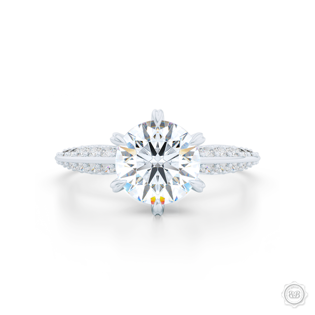 Classic Six-Prong Diamond Solitaire Engagement Ring. Elegantly beveled knife -edge, Diamond encrusted shoulders. Handcrafted in White Gold or Platinum. GIA Certified Round Brilliant Diamond. Free Shipping USA.  30-Day Returns | BASHERT JEWELRY | Boca Raton, Florida.
