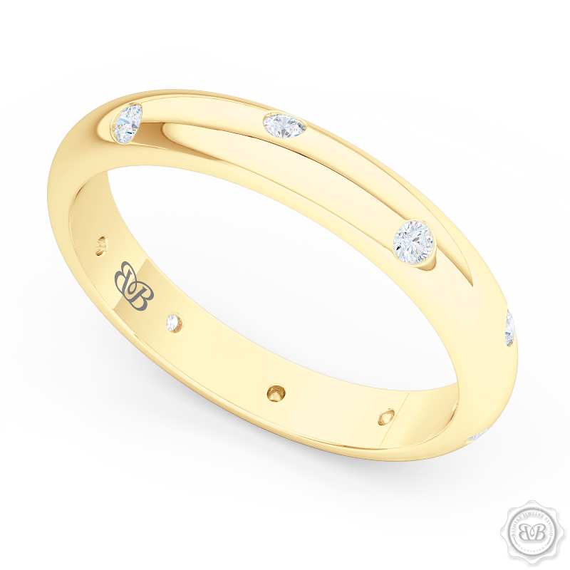 Classic, domed Wedding Band with scattered flash set diamond accents. Handcrafted in Classic Yellow Gold. Free Shipping for All USA Orders. 30-Day Returns | BASHERT JEWELRY | Boca Raton, Florida