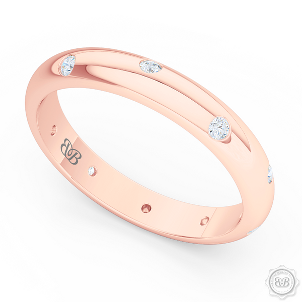 Classic, domed Wedding Band with scattered flash set diamond accents. Handcrafted in Romantic Rose Gold. Free Shipping for All USA Orders. 30-Day Returns | BASHERT JEWELRY | Boca Raton, Florida