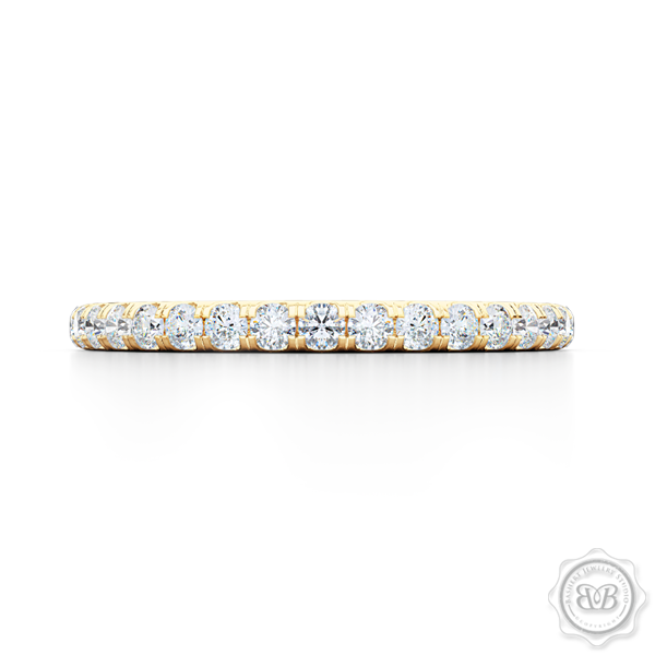 Classic Fishtail Diamond Diamond encrusted Wedding Band.  Handcrafted in Classic Yellow Gold. Free Shipping for All USA Orders. 30-Day Returns | BASHERT JEWELRY | Boca Raton, Florida